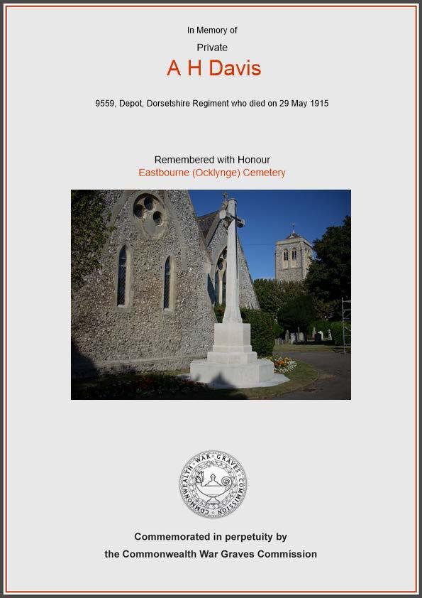 Commemoration Private Davis