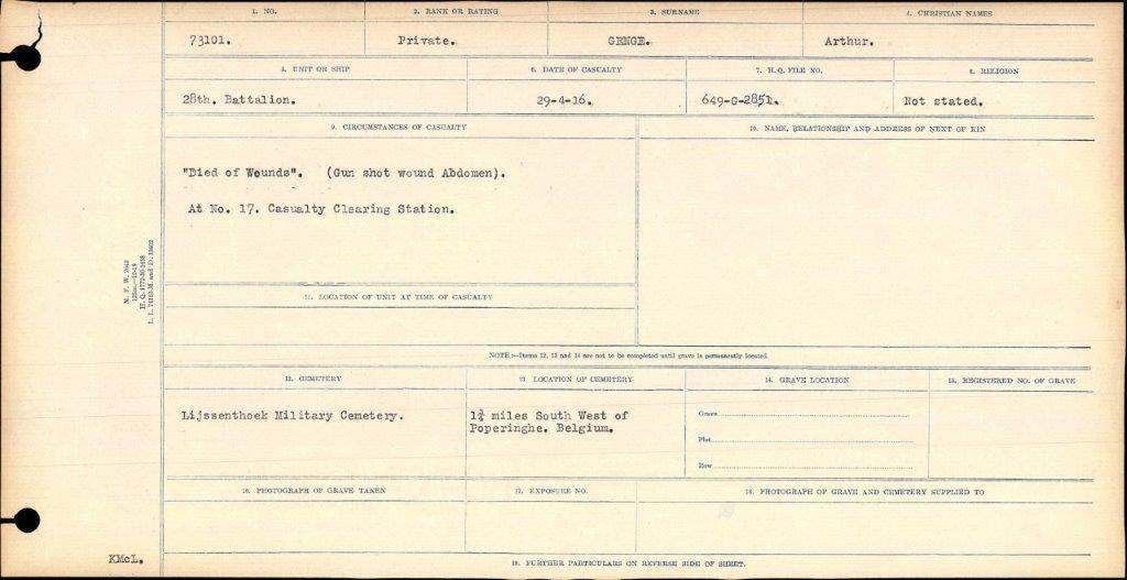 Canadian Record of the death of Arthur Genge